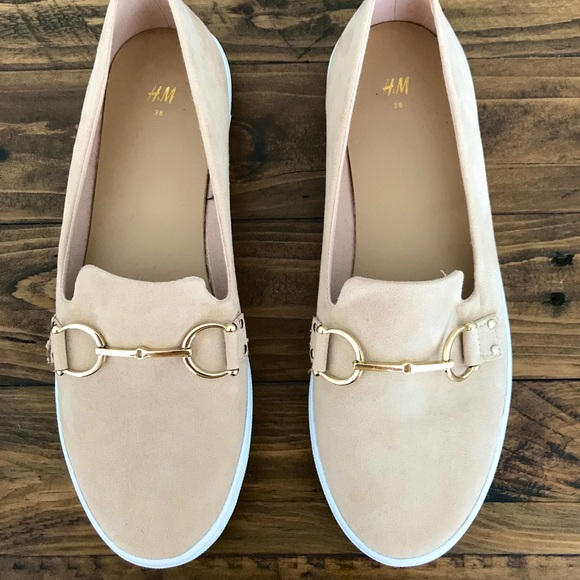 H&M beige nude white sole flats sneakers 7